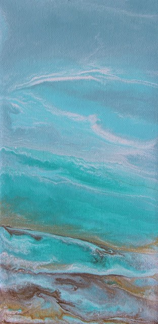 """""""Contemporary Abstract Seascape Painting,Coastal Art Speak Softly to me II by International Contemp"""" original fine art by Kimberly Conrad"""