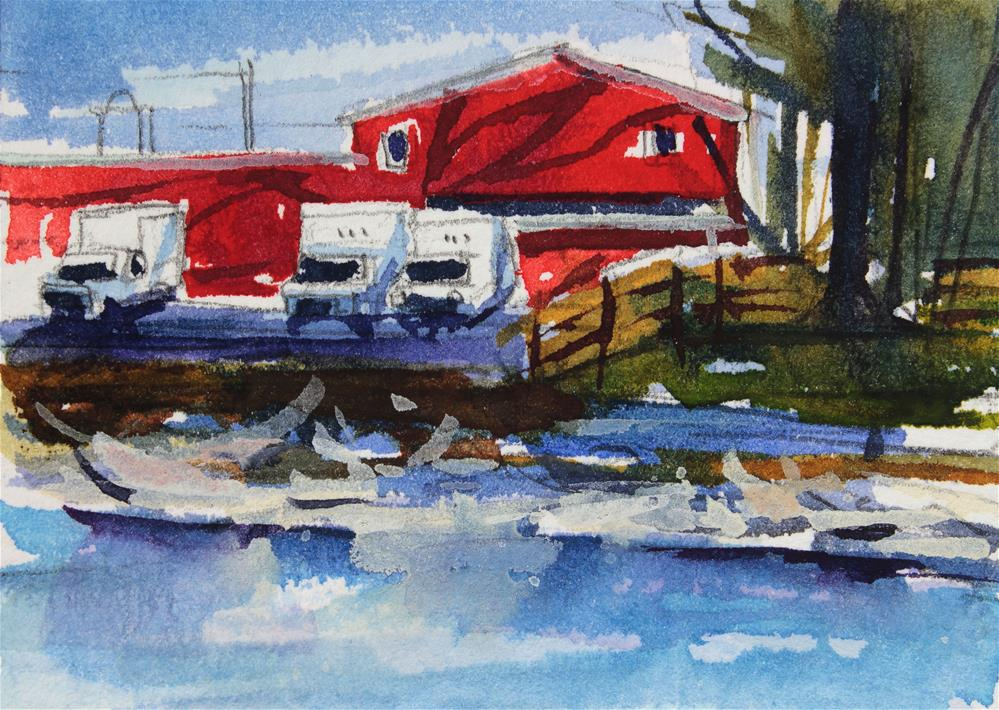 """Red Building on Ellicott Creek"" original fine art by Chris Breier"
