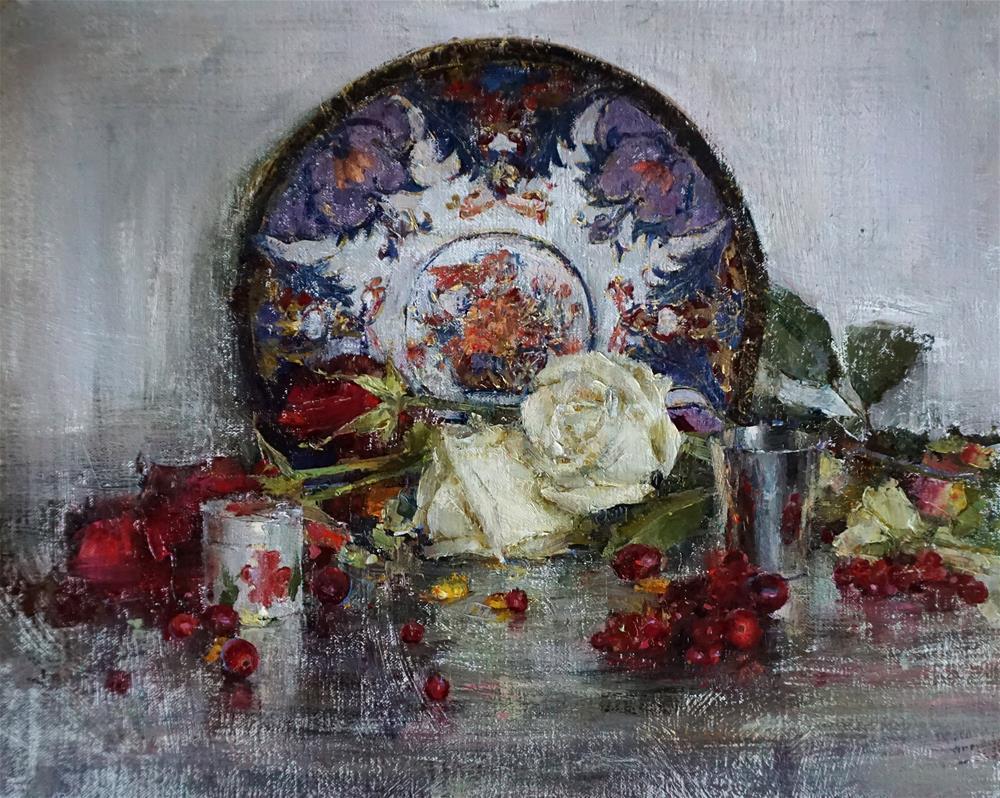 """Roses and plate"" original fine art by Taisia Kuklina"