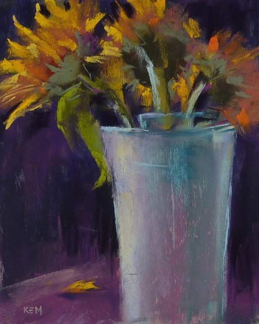 """""""An Easy Way to Simplify a Painting.. Sunflowers!"""" original fine art by Karen Margulis"""