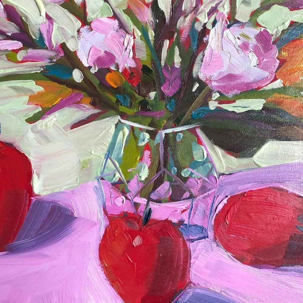 """1271: Flowers and a Few Apples"" original fine art by Brian Miller"