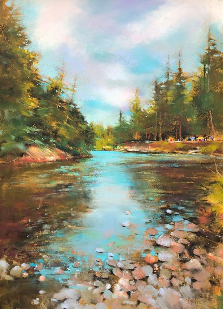 """""""Cedar River Picnic"""" original fine art by Barbara Benedetti Newton"""