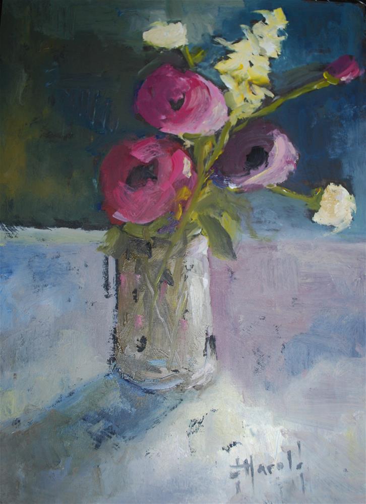 """Mason Jar with flowers"" original fine art by Deborah Harold"