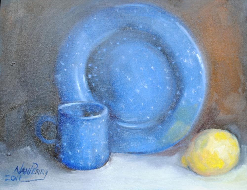 """Blue Enamelware"" original fine art by Nan Perry"
