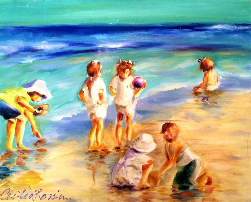 """CHILDREN ON THE BEACH"" original fine art by Cecilia Rosslee"
