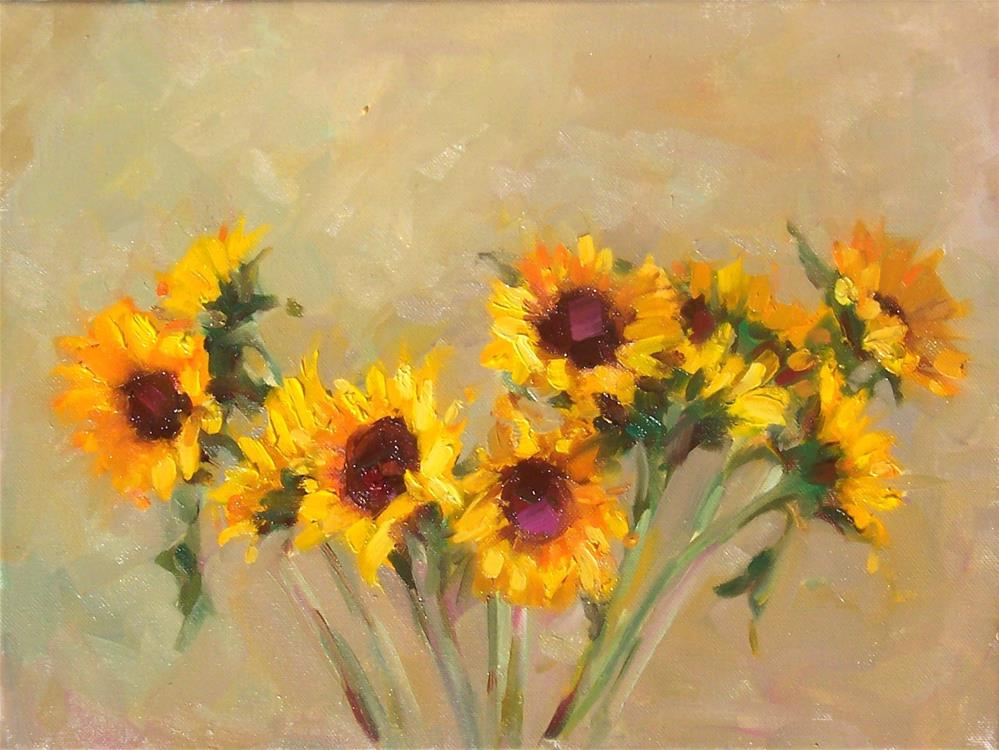 """Sunflowers,still life,oil on canvas,11x14,price$425"" original fine art by Joy Olney"