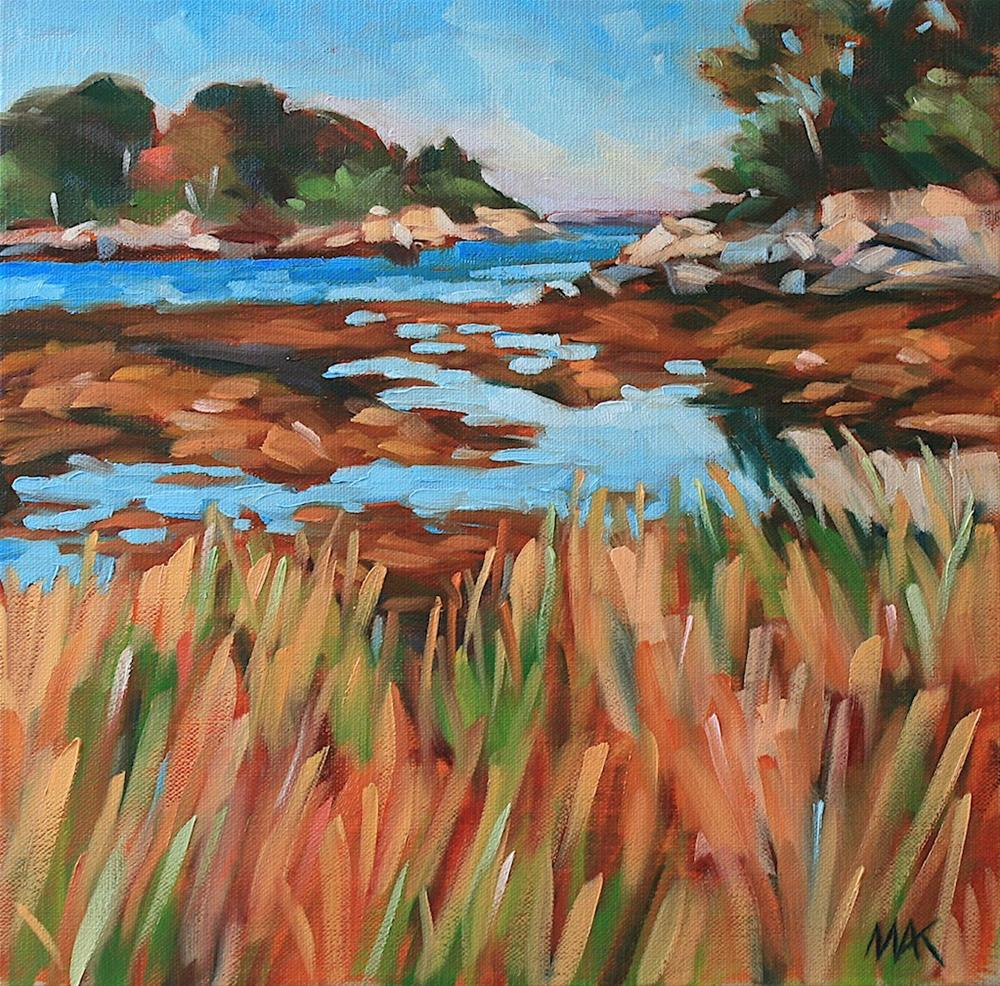 """""""Pumpkin Nob View from Peaks Island"""" original fine art by Mary Anne Cary"""
