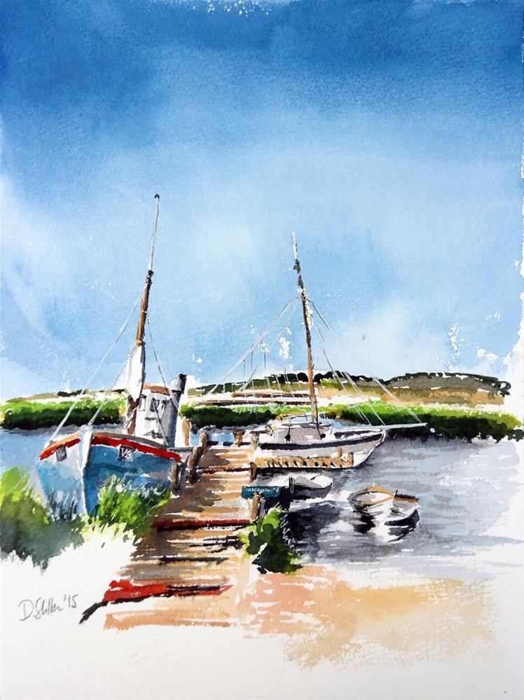 """1412 Ship at the bait huts"" original fine art by Dietmar Stiller"