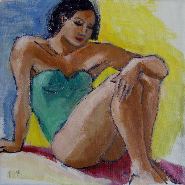 """Figurative painting, woman, nude, figure study, original art, Marie Fox"" original fine art by Marie Fox"