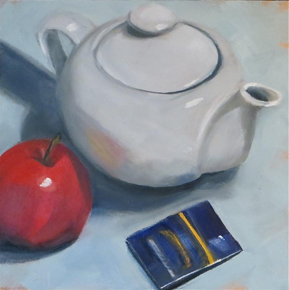 """White Teapot"" original fine art by Claire Henning"