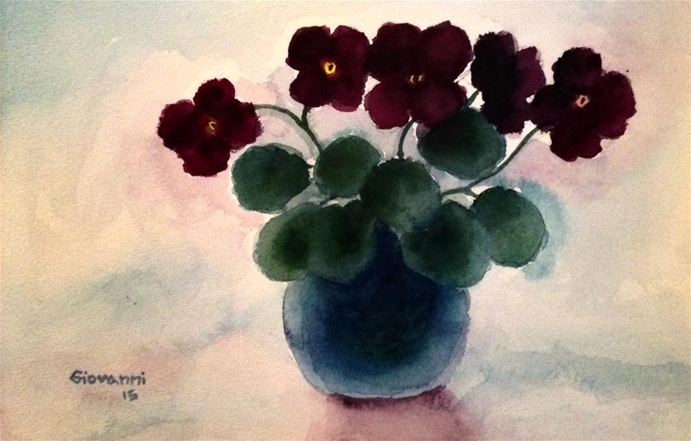 """Flowers (violets)"" original fine art by Giovanni Antunez"
