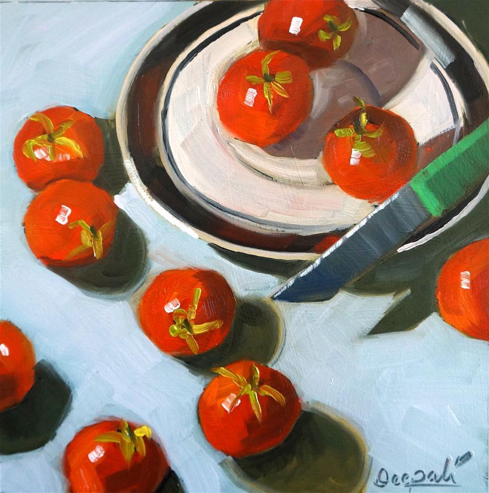 """Tomatoes with Knife"" original fine art by Dipali Rabadiya"