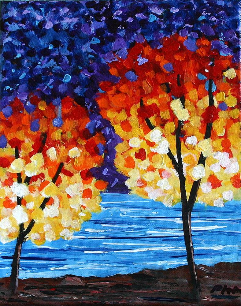 """""""TREES AT THE RIVER"""" original fine art by Bob Phillips"""