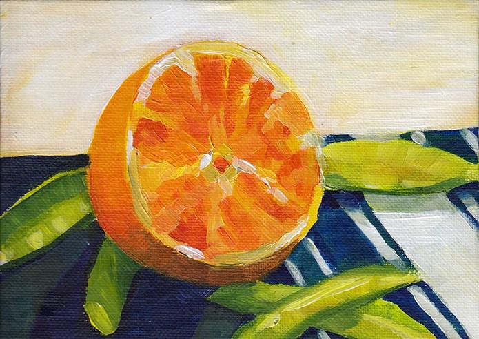 """Orange on a Striped Napkin"" original fine art by J M Needham"