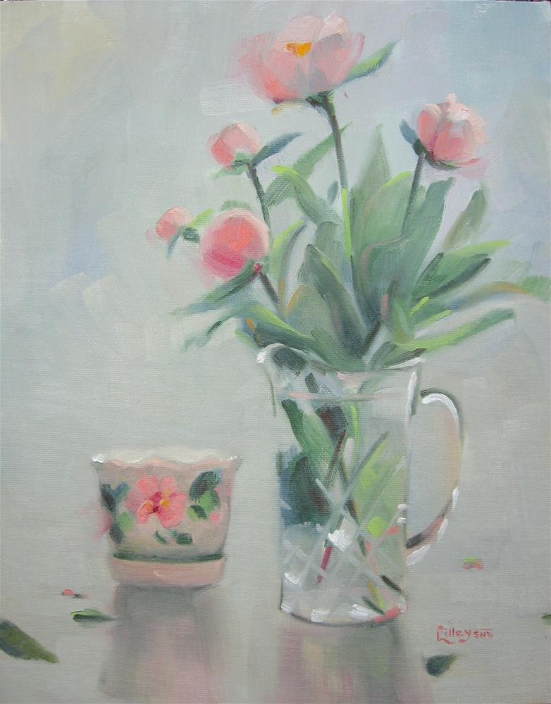 """Peonies in Crystal Vase"" original fine art by Maresa Lilley"