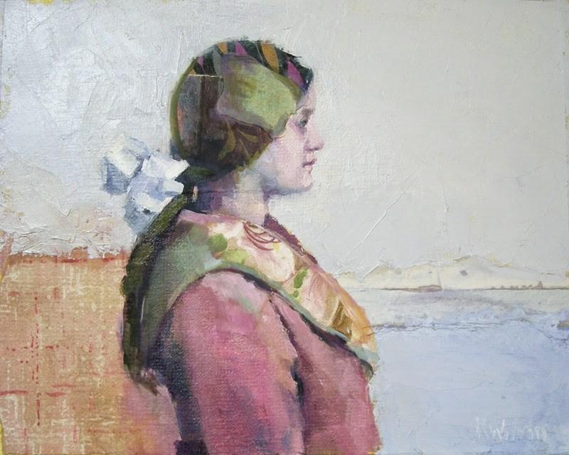 """""""Pink Coat White Bow"""" original fine art by Katie Wilson"""
