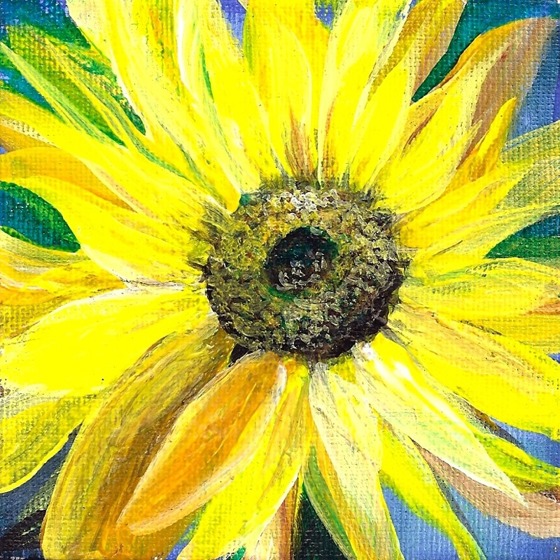 """4x4 Sunflower Fantasy Acrylic on a square edge canvas Original Penny StewArt"" original fine art by Penny Lee StewArt"