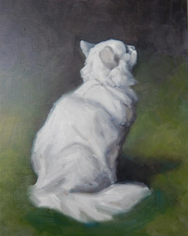 """""""After Arthur Heyer, White Persian Cat in a Garden"""" original fine art by Megan Schembre"""