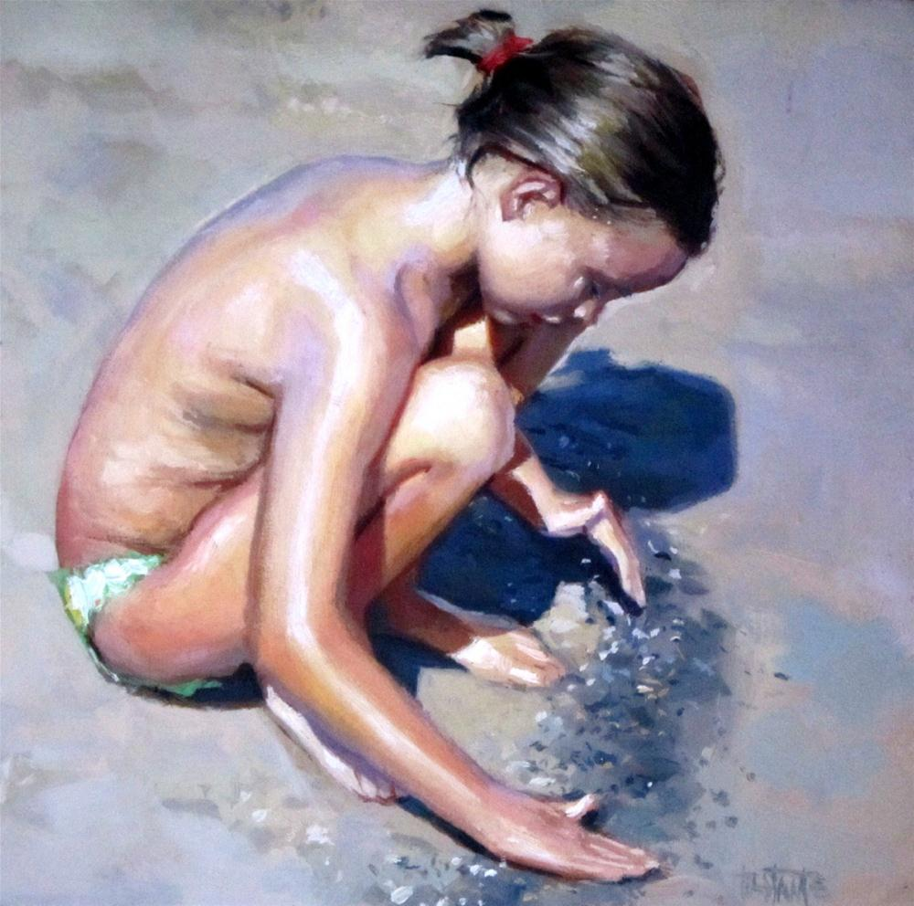 """""""Playing in the sand"""" original fine art by Víctor Tristante"""