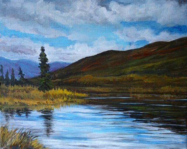 """""""Lapie Lake, Yukon"""" original fine art by Jackie Irvine"""
