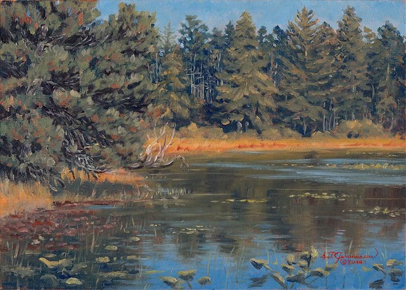"""C1550 Afternoon on Muddy Lake (New River ACEC, Oregon Coast)"" original fine art by Steven Thor Johanneson"
