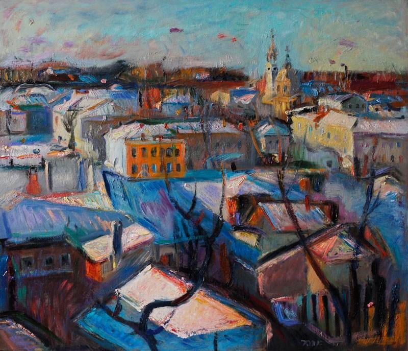 """Snow Covered Town"" original fine art by Anna Fine Art"