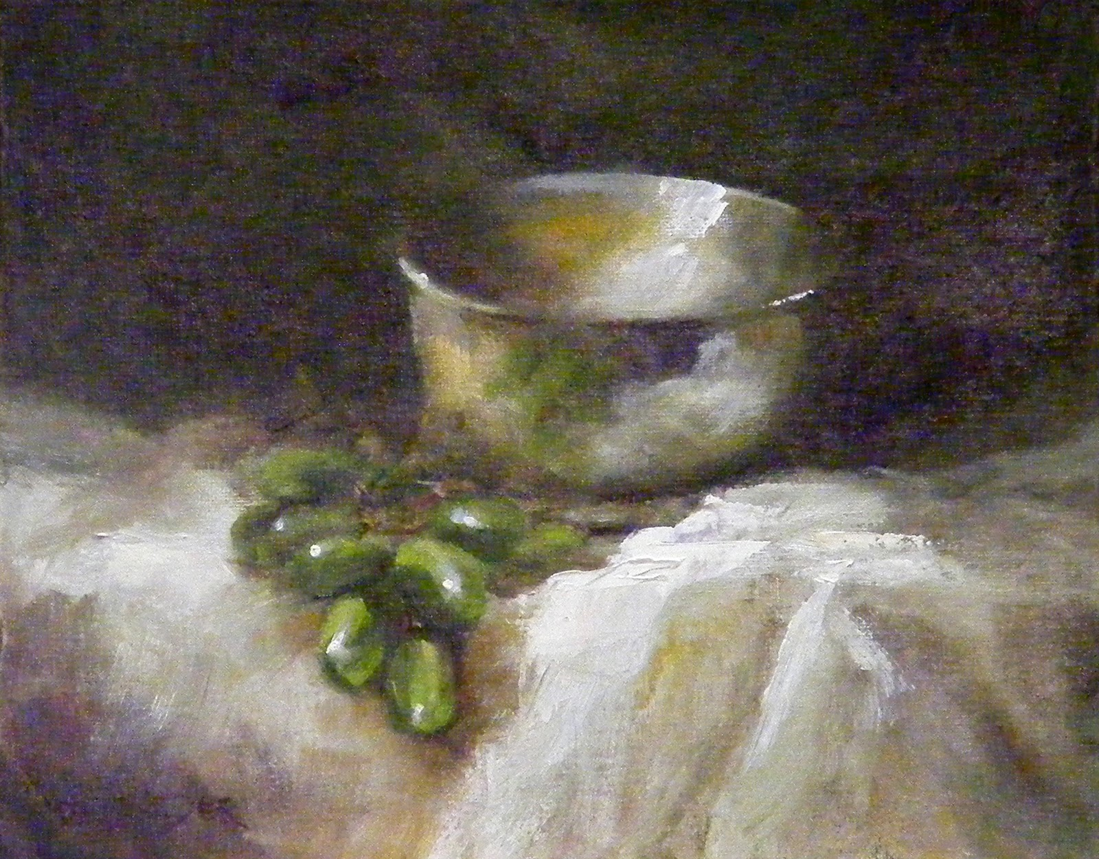 """""""Grapes & Silver, Still Life, Oil"""" original fine art by Diana Delander"""