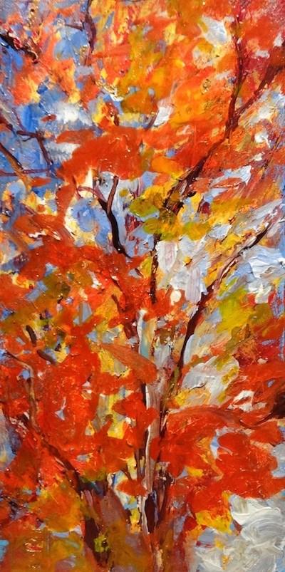 """4167 - Flaming Glory - Raw Edge Painting"" original fine art by Sea Dean"