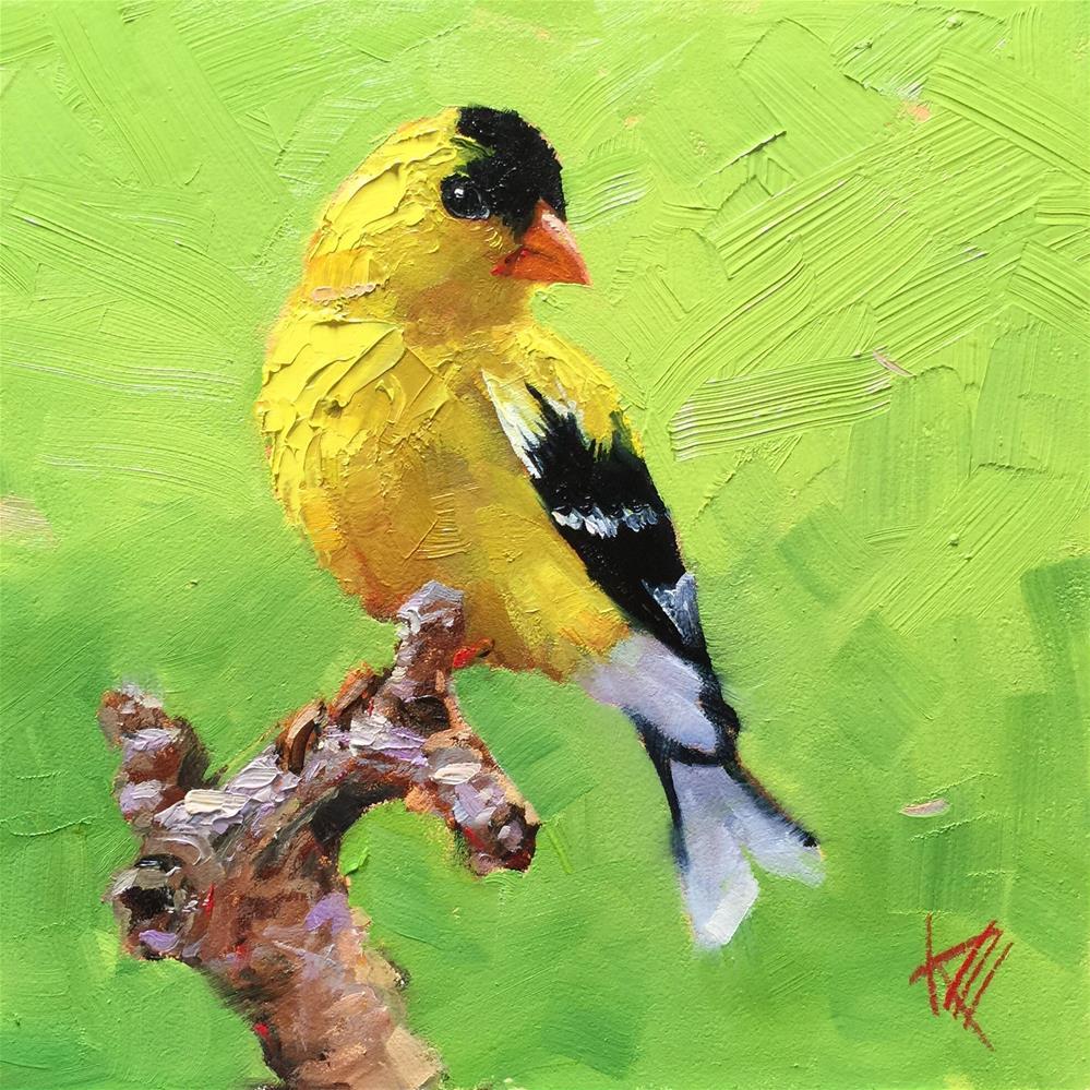 """Goldfinch"" original fine art by Krista Eaton"