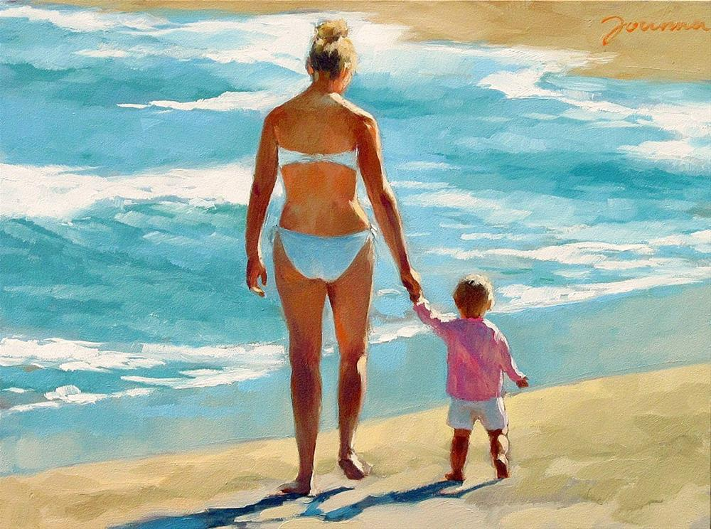 """""""Early Steps--Series Painting of Mother and Child at Beach"""" original fine art by Joanna Bingham"""