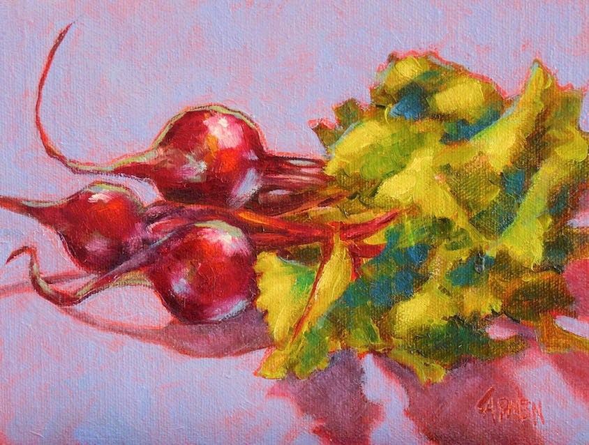 """Beets, 8x6 Oil on Canvas Panel, Still Life on Purple"" original fine art by Carmen Beecher"