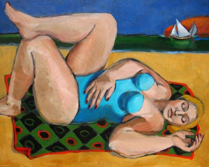 """""""The Nap, figurative painting of woman at beach, sailboats, figure painter, figuration"""" original fine art by Marie Fox"""
