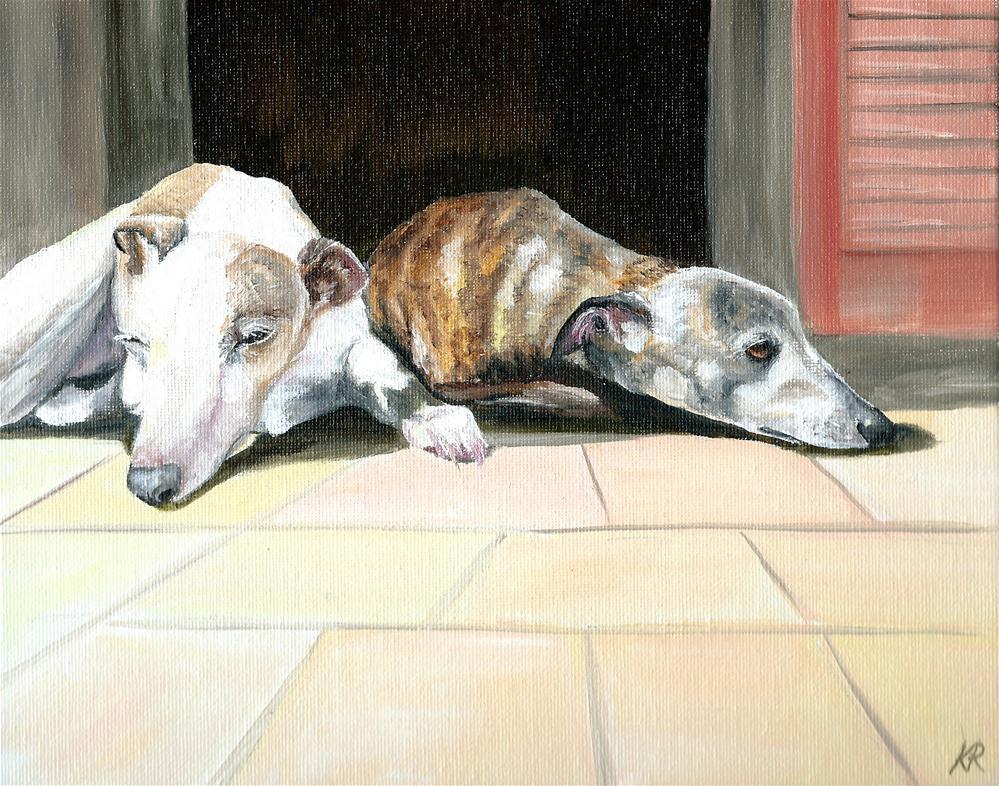 """Greyhounds Snoozing in the sun"" original fine art by Karen Robinson"