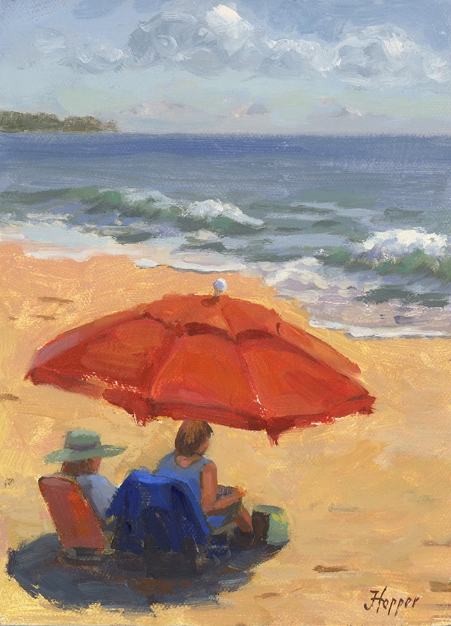 """Beach Umbrella"" original fine art by Joanne Hopper"