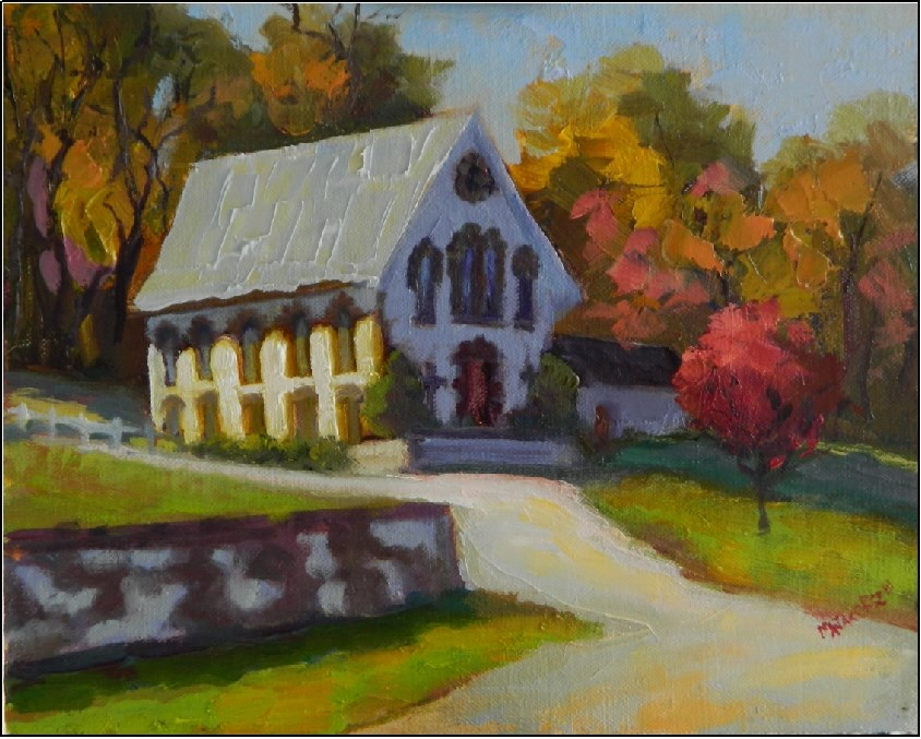"""The Little Church in Chester Springs, 8x10, oil on panel, plein air, Chester Springs, Pennsylvania"" original fine art by Maryanne Jacobsen"