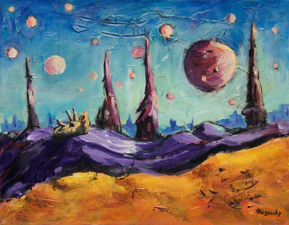 """Planet of Thousand Moons."" original fine art by Yulia Kazansky"
