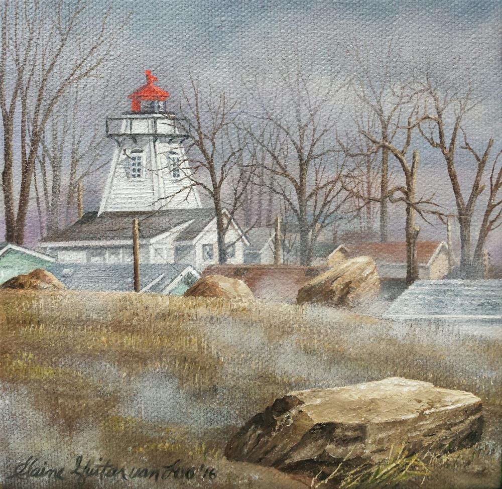 """Beacon on the Beach"" original fine art by Elaine Guitar van Loo"