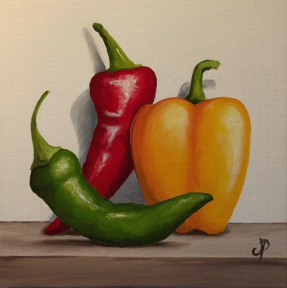 """Pepper Trio"" original fine art by Jane Palmer"