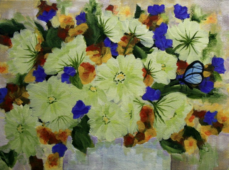 """""""Blue Butterfly"""" original fine art by Jean Nelson"""
