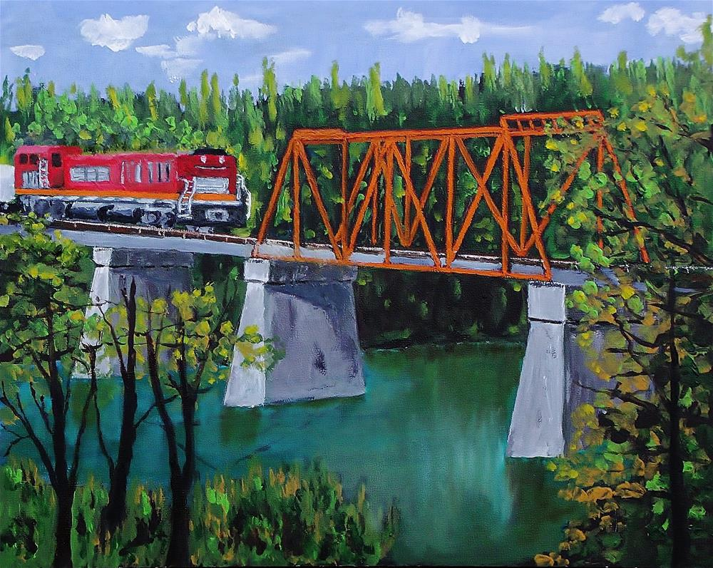 """A Train, A Bridge, A River"" original fine art by Mike Caitham"