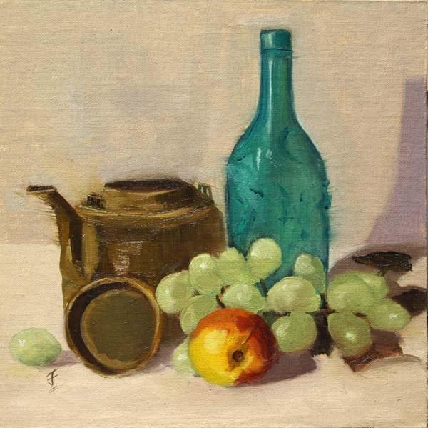 """Peach, Grapes, Tea Pot and Bottle"" original fine art by Jane Frederick"