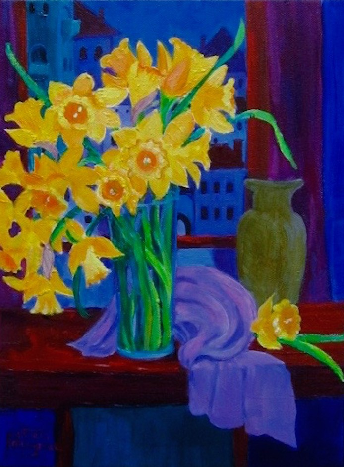 """""""Daffodils at Night"""" original fine art by Patricia Musgrave"""