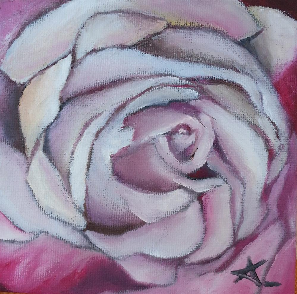 """the purple pink rose 78"" original fine art by Konstantia Karletsa"