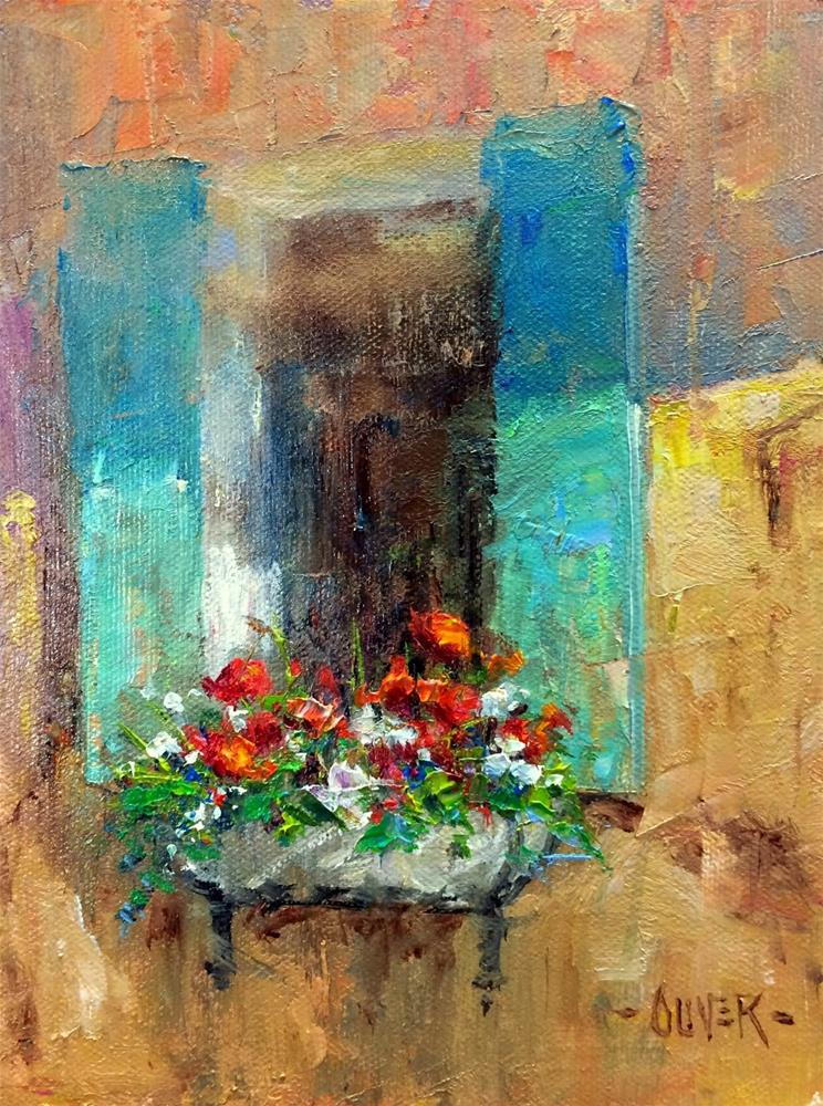 """Window Flowers"" original fine art by Julie Ford Oliver"