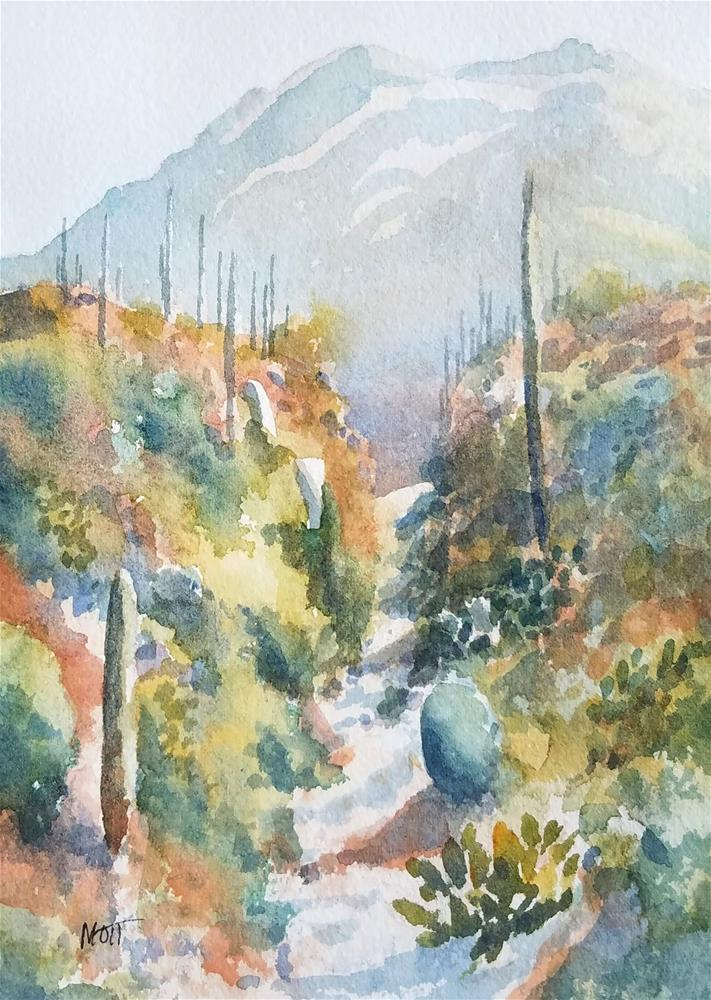 """Narrow Path Saguaro West"" original fine art by Jeff Mott"