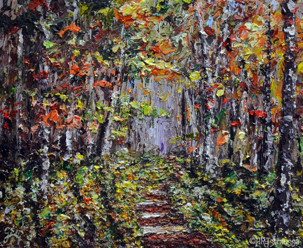 """Stairway Through The Birch Trees"" original fine art by Gloria Ester"