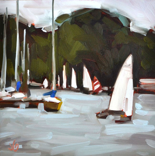 """Sailing at Geist"" original fine art by Jessica Green"