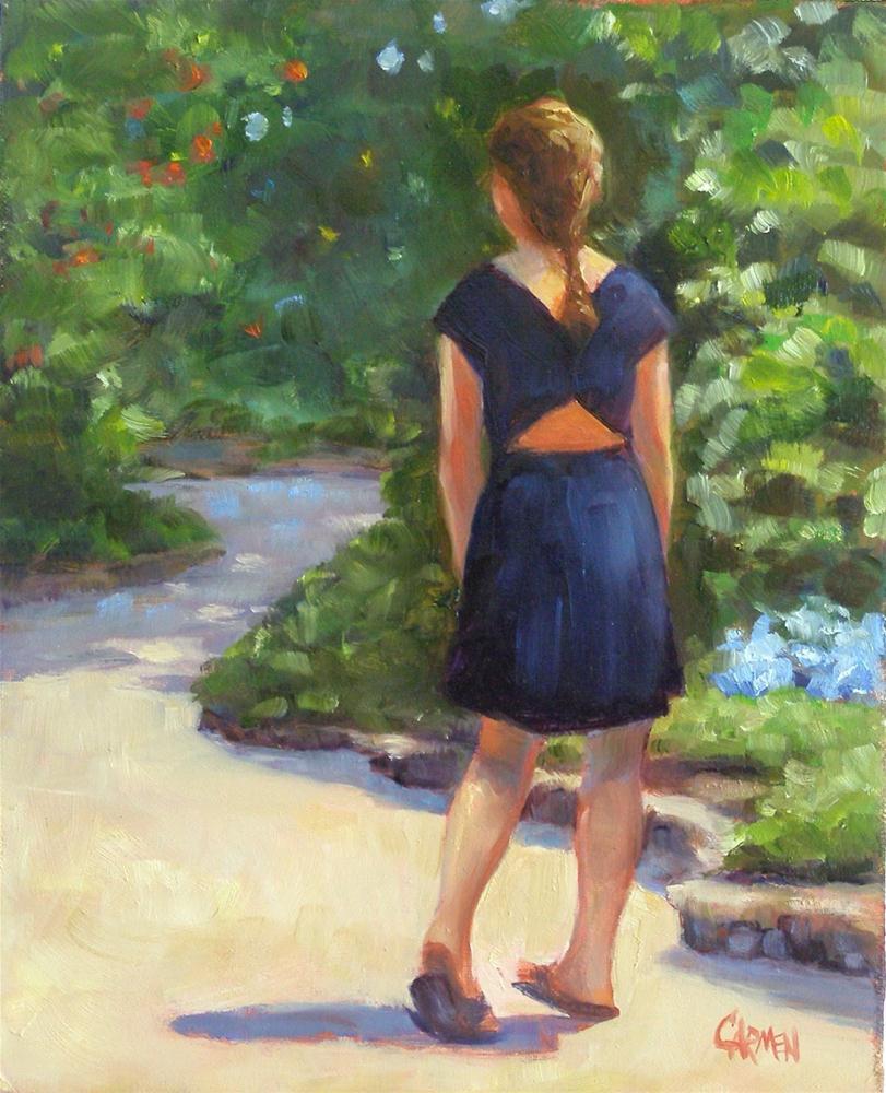 """Girl in the Butterfly Garden, 8x10 Oil on Canvas Panel"" original fine art by Carmen Beecher"