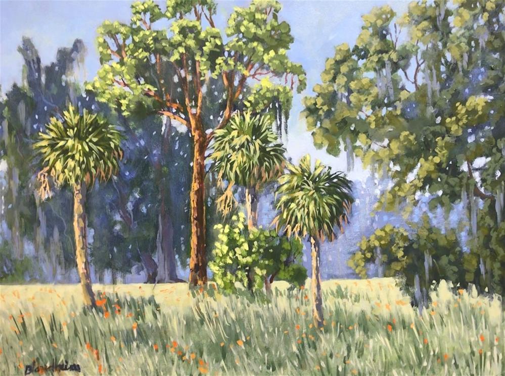 """Palms and Pine"" original fine art by Linda Blondheim"