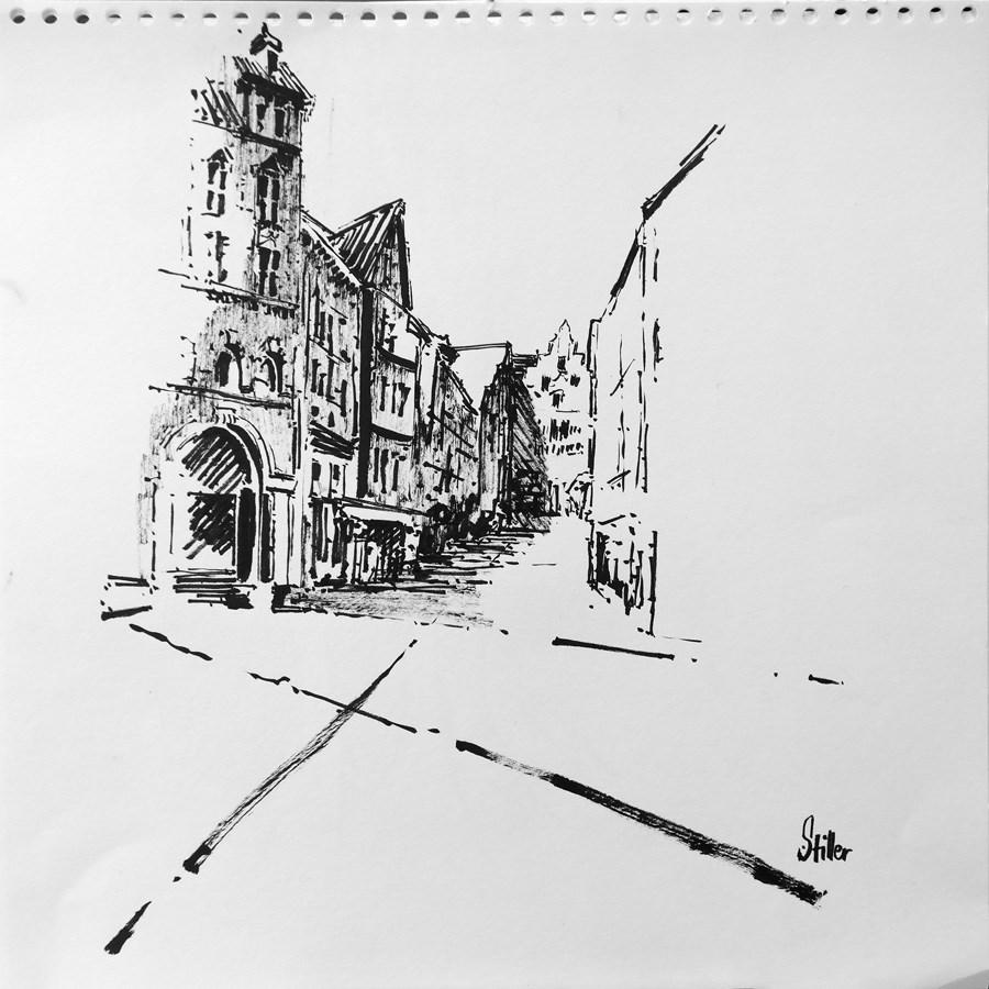 """""""2156 Kramer Street b/w"""" original fine art by Dietmar Stiller"""